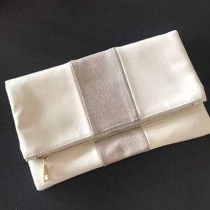 White & Grey Fold Over Purse Clutch